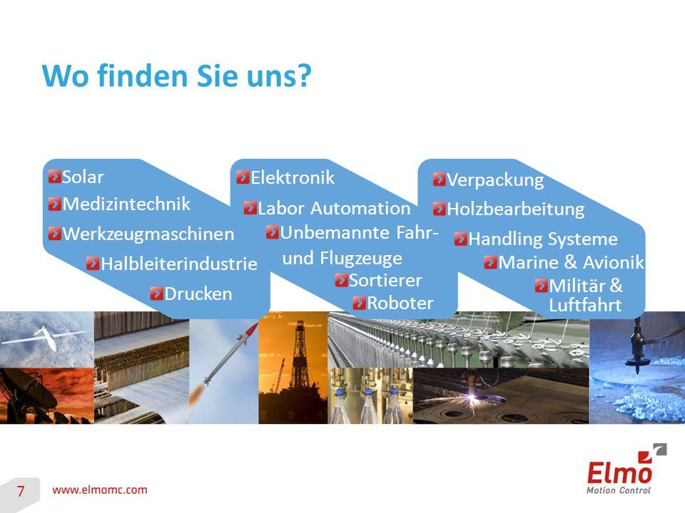 Wo finden Sie uns? Drucken Werkzeugmaschinen Medizintechnik Halbleiterindustrie Solar Elektronik Labor Automation Unbemannte Fahr- und Flugzeuge Sorti