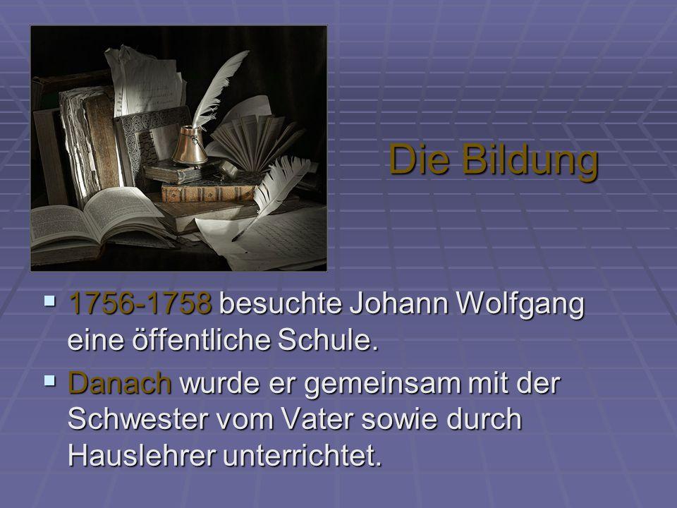 Die Bildung  1756-1758 besuchte Johann Wolfgang eine öffentliche Schule.  Danach wurde er gemeinsam mit der Schwester vom Vater sowie durch Hauslehr