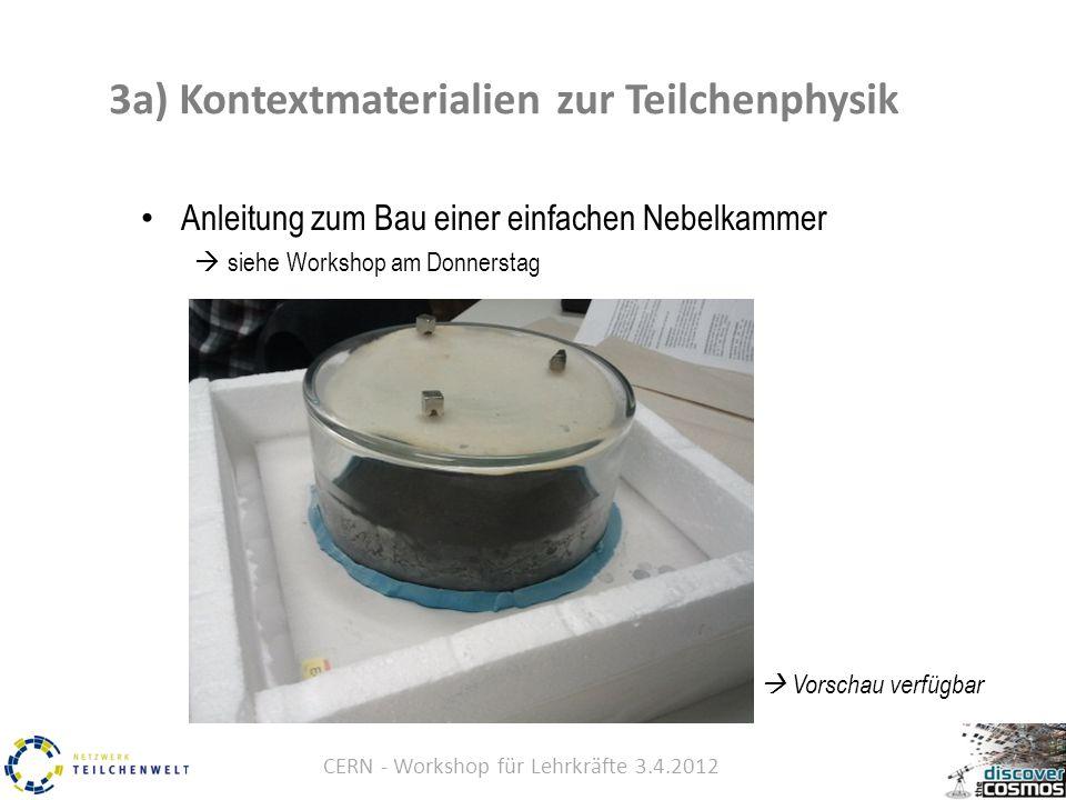 CERN - Workshop für Lehrkräfte 3.4.2012 Anleitung zum Bau einer einfachen Nebelkammer  siehe Workshop am Donnerstag  Vorschau verfügbar 3a) Kontextmaterialien zur Teilchenphysik