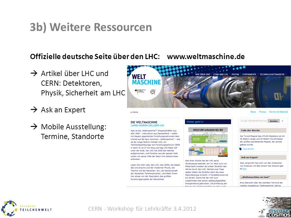 CERN - Workshop für Lehrkräfte 3.4.2012 3b) Weitere Ressourcen Offizielle deutsche Seite über den LHC: www.weltmaschine.de  Artikel über LHC und CERN: Detektoren, Physik, Sicherheit am LHC  Ask an Expert  Mobile Ausstellung: Termine, Standorte