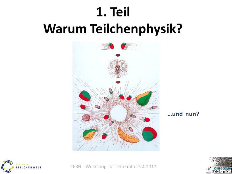 CERN - Workshop für Lehrkräfte 3.4.2012 1. Teil Warum Teilchenphysik? …und nun?