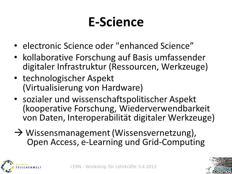 CERN - Workshop für Lehrkräfte 3.4.2012 E-Science electronic Science oder enhanced Science kollaborative Forschung auf Basis umfassender digitaler Infrastruktur (Ressourcen, Werkzeuge) technologischer Aspekt (Virtualisierung von Hardware) sozialer und wissenschaftspolitischer Aspekt (kooperative Forschung, Wiederverwendbarkeit von Daten, Interoperabilität digitaler Werkzeuge)  Wissensmanagement (Wissensvernetzung), Open Access, e-Learning und Grid-Computing