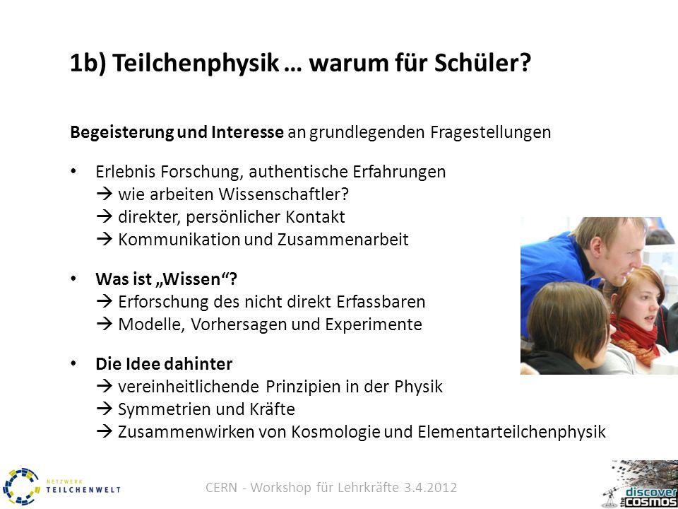 CERN - Workshop für Lehrkräfte 3.4.2012 1b) Teilchenphysik … warum für Schüler.