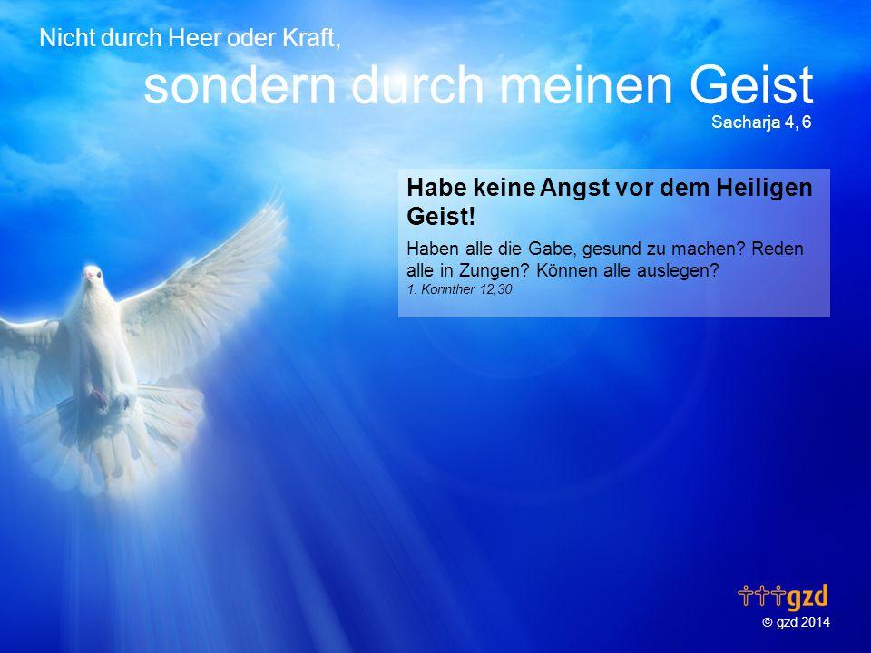  gzd 2014 Nicht durch Heer oder Kraft, sondern durch meinen Geist Sacharja 4, 6 Habe keine Angst vor dem Heiligen Geist.