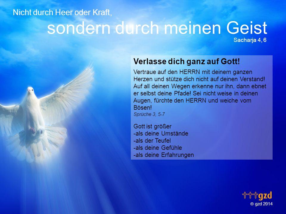  gzd 2014 Nicht durch Heer oder Kraft, sondern durch meinen Geist Sacharja 4, 6 Verlasse dich ganz auf Gott.