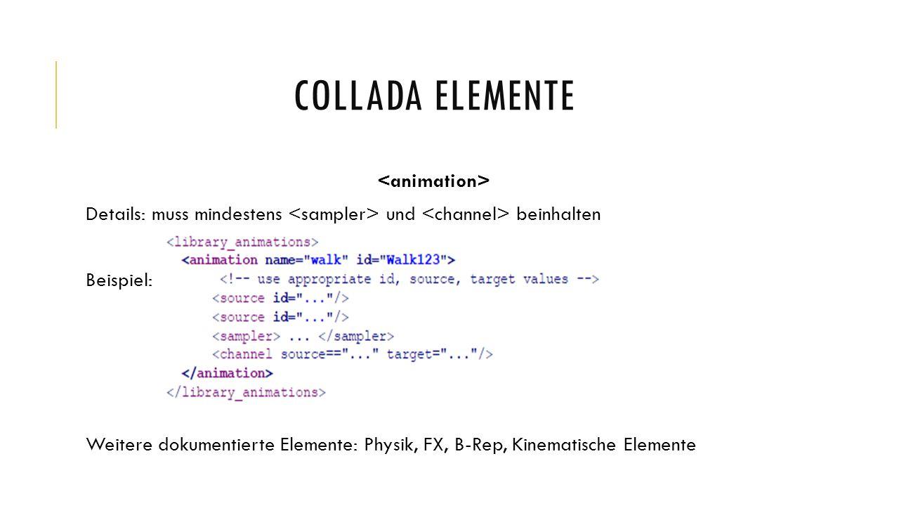 COLLADA ELEMENTE Details: muss mindestens und beinhalten Beispiel: Weitere dokumentierte Elemente: Physik, FX, B-Rep, Kinematische Elemente