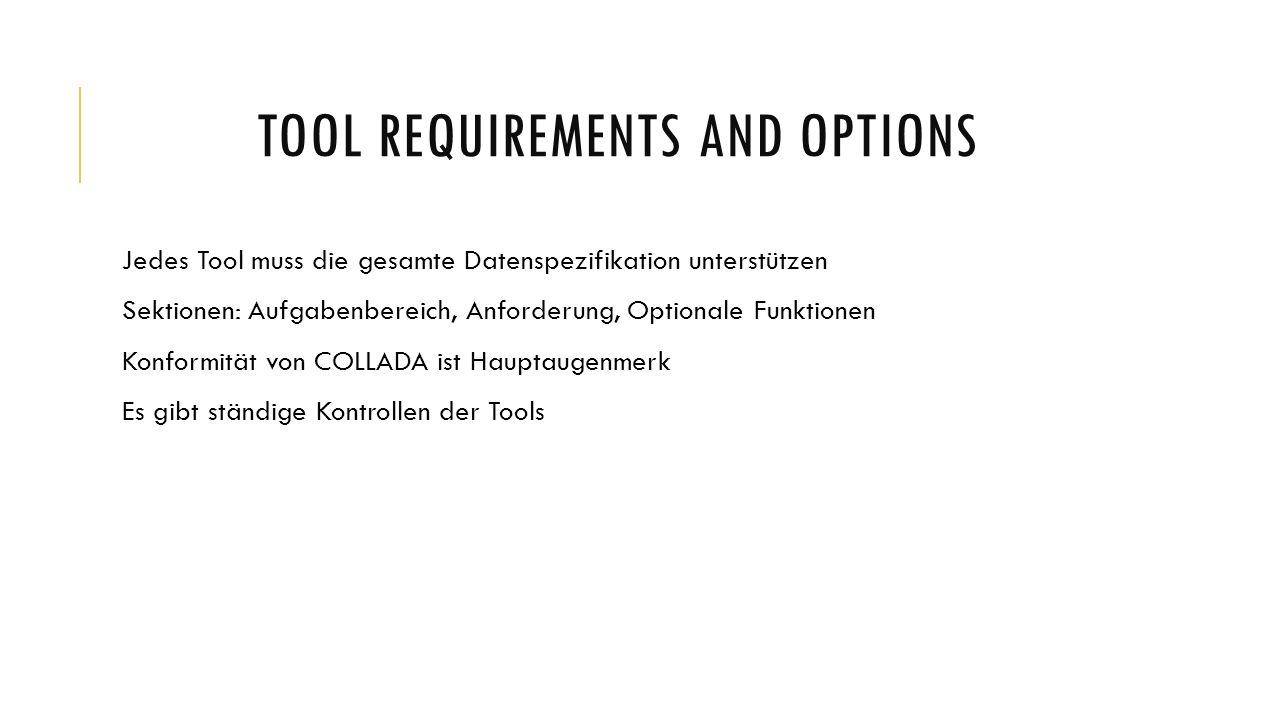 TOOL REQUIREMENTS AND OPTIONS Exporter Aufgabenbereich: spezifizierte Daten von Optionen dokumentieren Anforderungen: