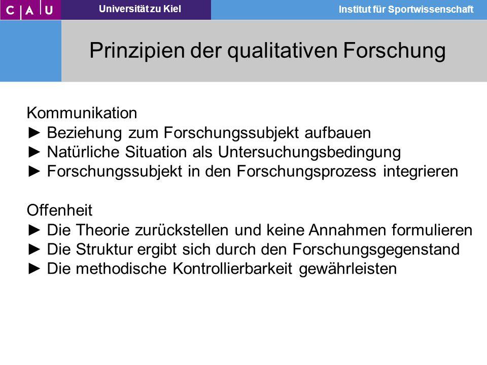 Universität zu Kiel Institut für Sportwissenschaft Prinzipien der qualitativen Forschung Kommunikation ► Beziehung zum Forschungssubjekt aufbauen ► Na