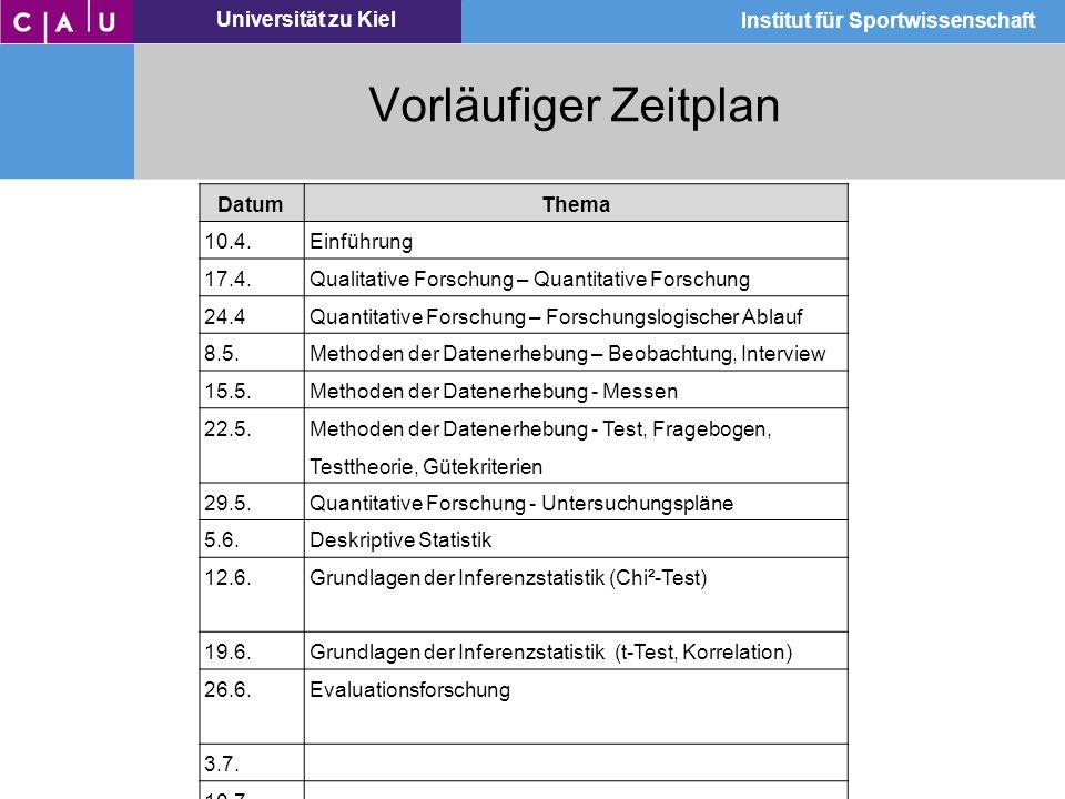 Universität zu Kiel Institut für Sportwissenschaft Vorläufiger Zeitplan DatumThema 10.4.Einführung 17.4.Qualitative Forschung – Quantitative Forschung