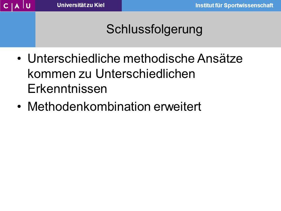 Universität zu Kiel Institut für Sportwissenschaft Schlussfolgerung Unterschiedliche methodische Ansätze kommen zu Unterschiedlichen Erkenntnissen Met