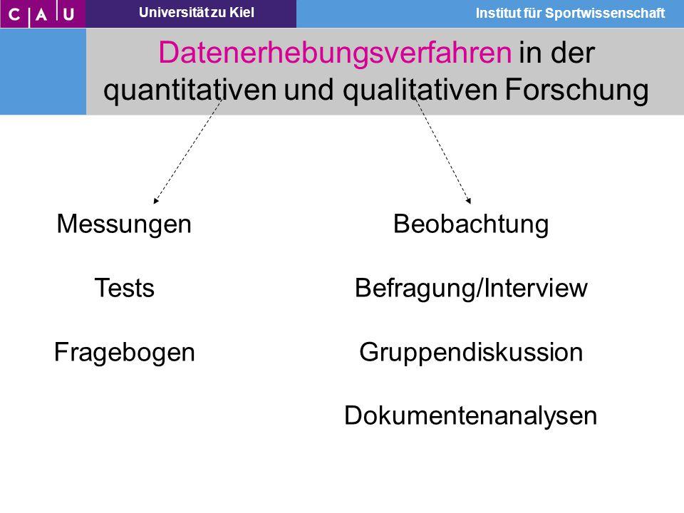 Universität zu Kiel Institut für Sportwissenschaft Datenerhebungsverfahren in der quantitativen und qualitativen Forschung Messungen Tests Fragebogen