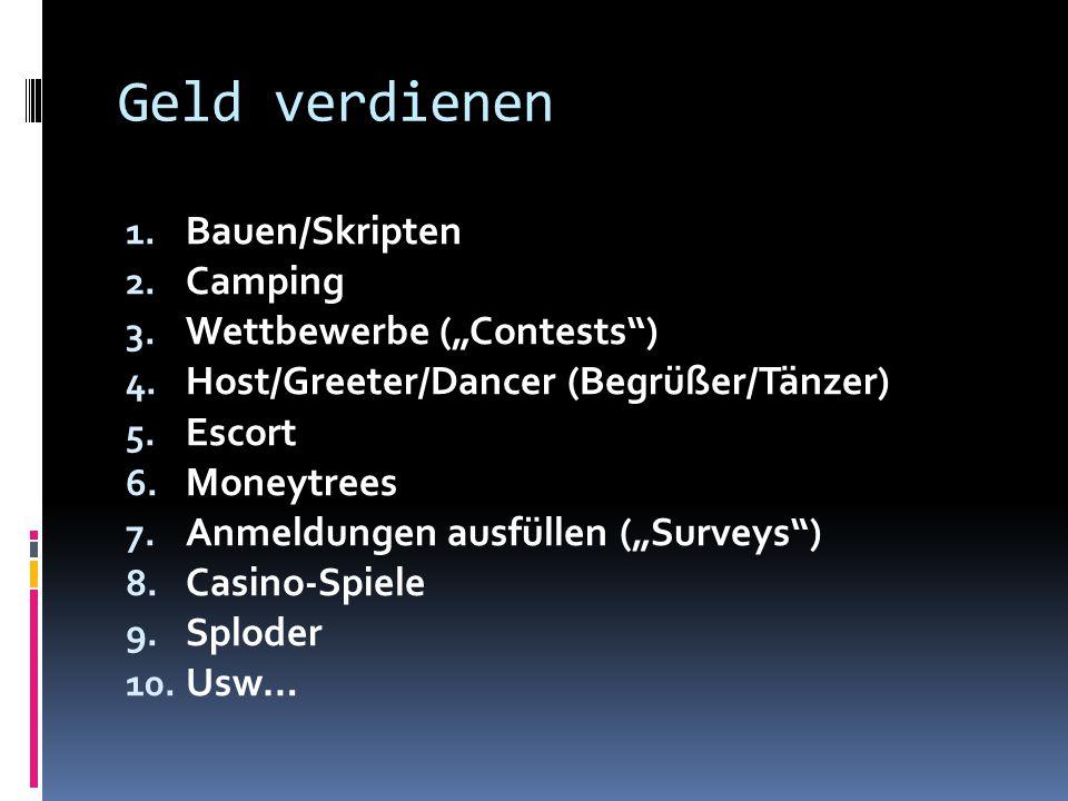 """Geld verdienen 1. Bauen/Skripten 2. Camping 3. Wettbewerbe (""""Contests"""") 4. Host/Greeter/Dancer (Begrüßer/Tänzer) 5. Escort 6. Moneytrees 7. Anmeldunge"""