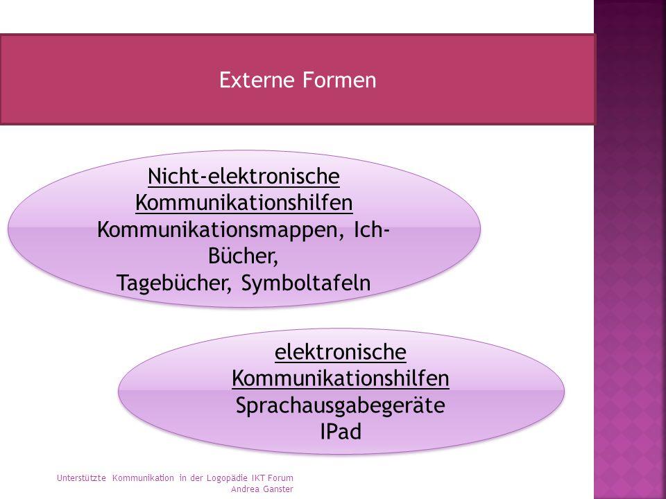 Externe Formen Nicht-elektronische Kommunikationshilfen Kommunikationsmappen, Ich- Bücher, Tagebücher, Symboltafeln Nicht-elektronische Kommunikations
