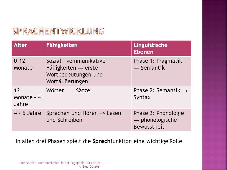 AlterFähigkeitenLinguistische Ebenen 0-12 Monate Sozial – kommunikative Fähigkeiten  erste Wortbedeutungen und Wortäußerungen Phase 1: Pragmatik  Se