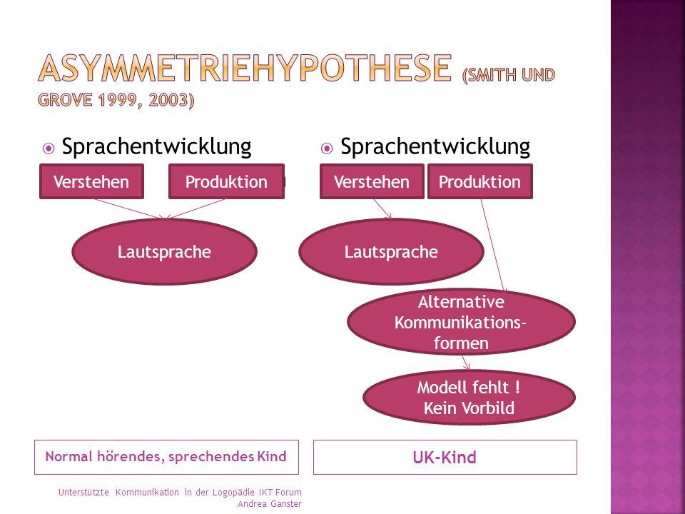 Normal hörendes, sprechendes Kind UK-Kind  Sprachentwicklung Verstehen Produktion  Sprachentwicklung VerstehenProduktion Lautsprache VerstehenProduktion Lautsprache Alternative Kommunikations- formen Modell fehlt .