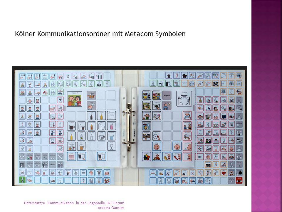 Kölner Kommunikationsordner mit Metacom Symbolen Unterstützte Kommunikation in der Logopädie IKT Forum Andrea Ganster