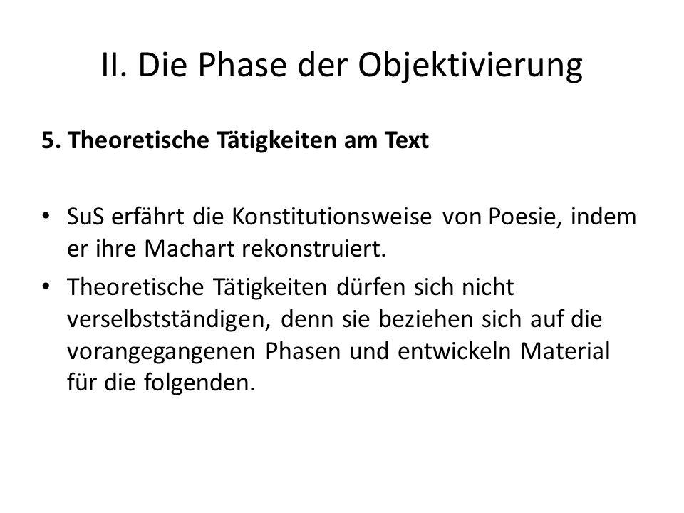 II. Die Phase der Objektivierung 5. Theoretische Tätigkeiten am Text SuS erfährt die Konstitutionsweise von Poesie, indem er ihre Machart rekonstruier