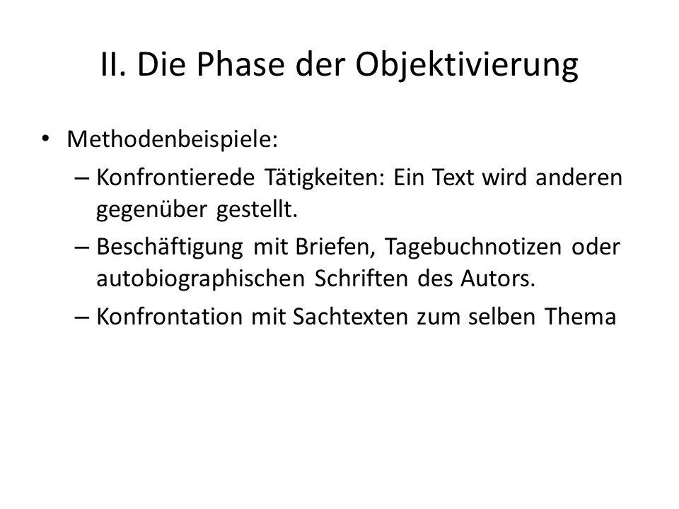 II. Die Phase der Objektivierung Methodenbeispiele: – Konfrontierede Tätigkeiten: Ein Text wird anderen gegenüber gestellt. – Beschäftigung mit Briefe