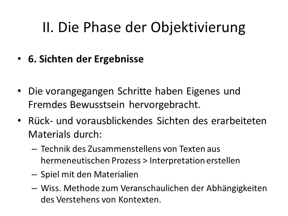 II. Die Phase der Objektivierung 6. Sichten der Ergebnisse Die vorangegangen Schritte haben Eigenes und Fremdes Bewusstsein hervorgebracht. Rück- und