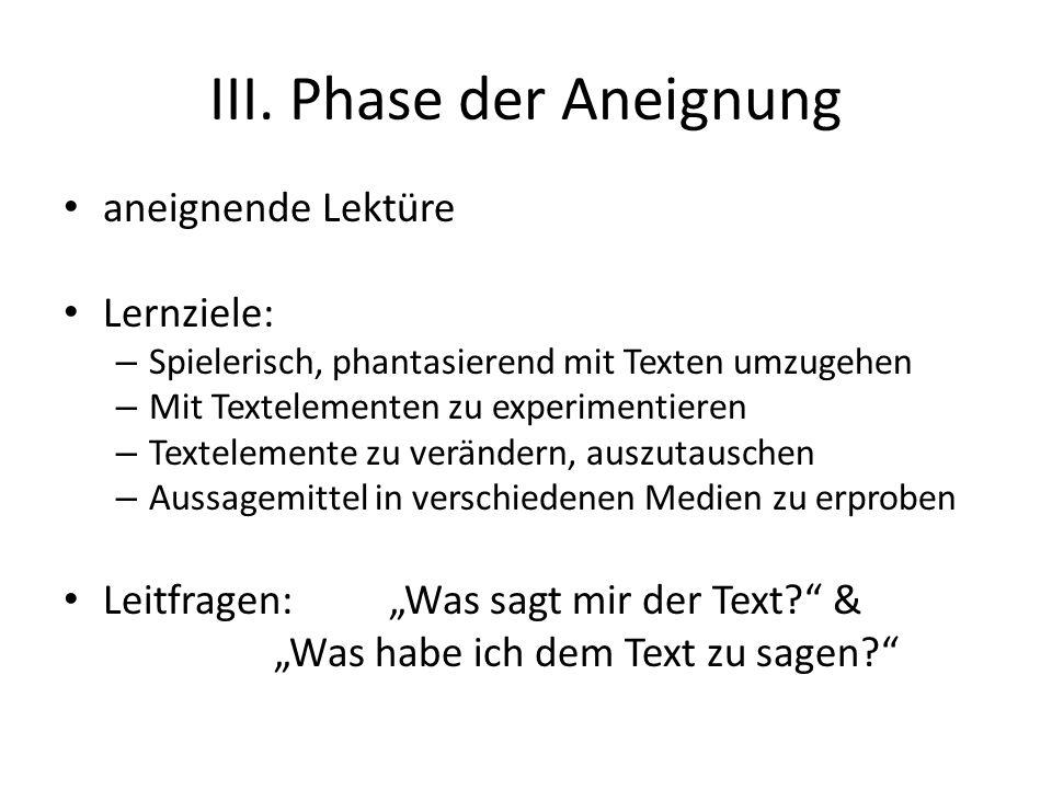III. Phase der Aneignung aneignende Lektüre Lernziele: – Spielerisch, phantasierend mit Texten umzugehen – Mit Textelementen zu experimentieren – Text