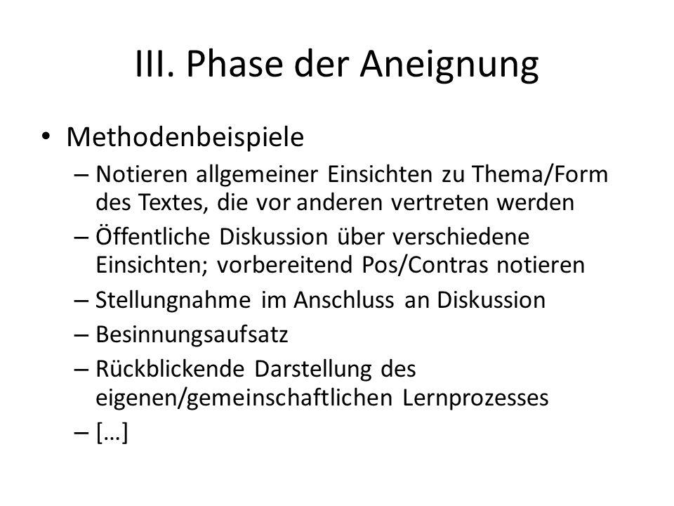 III. Phase der Aneignung Methodenbeispiele – Notieren allgemeiner Einsichten zu Thema/Form des Textes, die vor anderen vertreten werden – Öffentliche