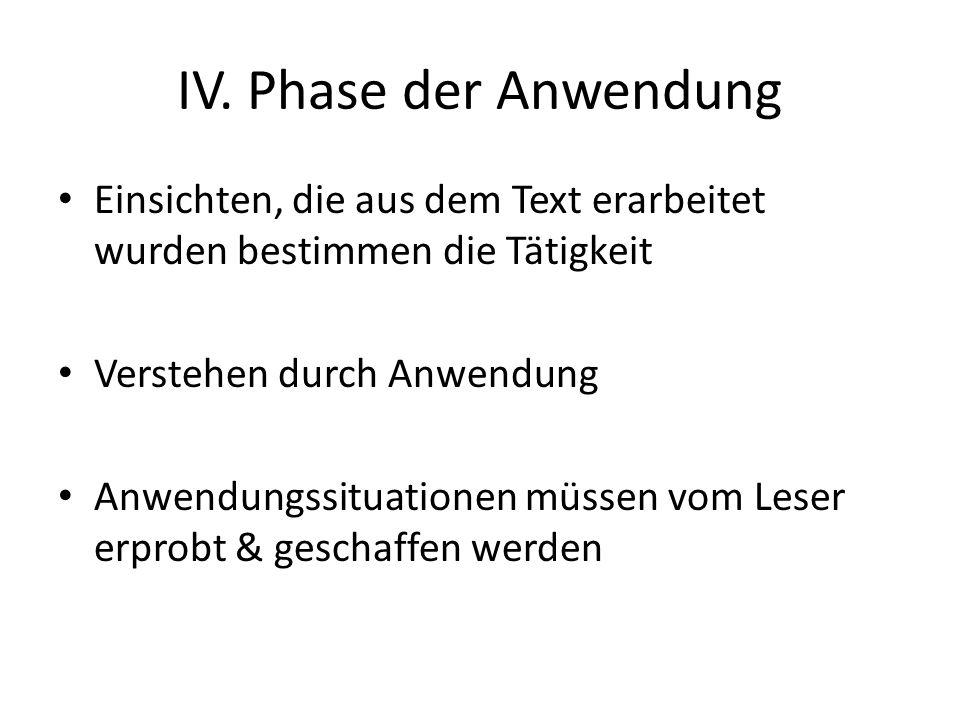 IV. Phase der Anwendung Einsichten, die aus dem Text erarbeitet wurden bestimmen die Tätigkeit Verstehen durch Anwendung Anwendungssituationen müssen