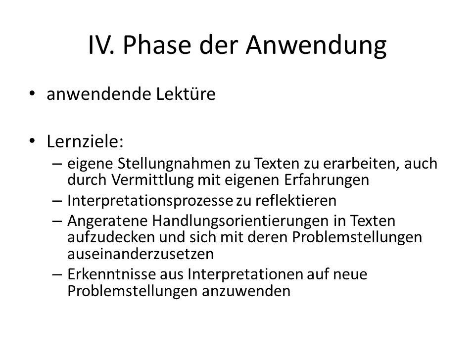 IV. Phase der Anwendung anwendende Lektüre Lernziele: – eigene Stellungnahmen zu Texten zu erarbeiten, auch durch Vermittlung mit eigenen Erfahrungen