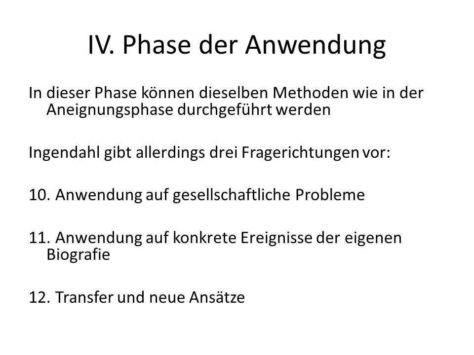 IV. Phase der Anwendung In dieser Phase können dieselben Methoden wie in der Aneignungsphase durchgeführt werden Ingendahl gibt allerdings drei Frager