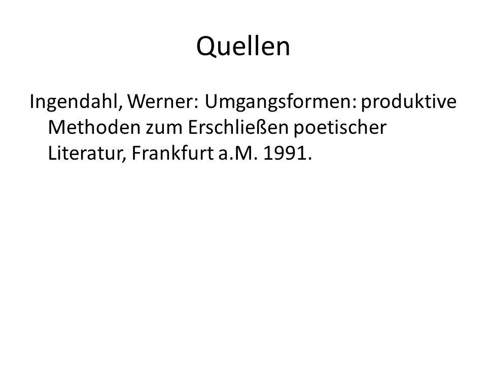 Quellen Ingendahl, Werner: Umgangsformen: produktive Methoden zum Erschließen poetischer Literatur, Frankfurt a.M. 1991.