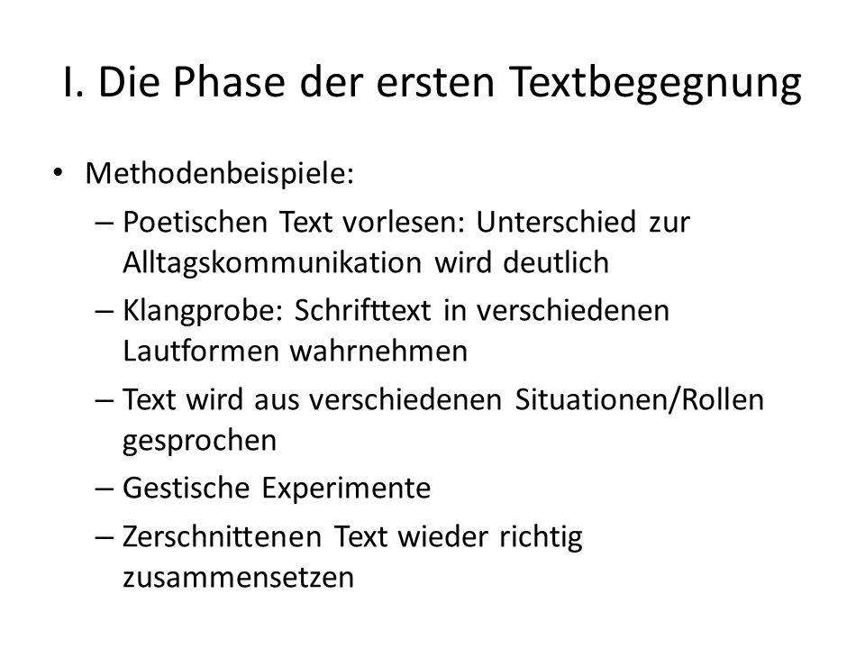 I. Die Phase der ersten Textbegegnung Methodenbeispiele: – Poetischen Text vorlesen: Unterschied zur Alltagskommunikation wird deutlich – Klangprobe: