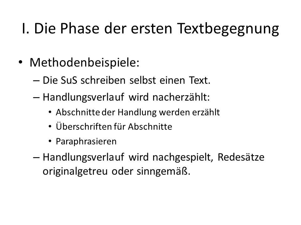 I. Die Phase der ersten Textbegegnung Methodenbeispiele: – Die SuS schreiben selbst einen Text. – Handlungsverlauf wird nacherzählt: Abschnitte der Ha