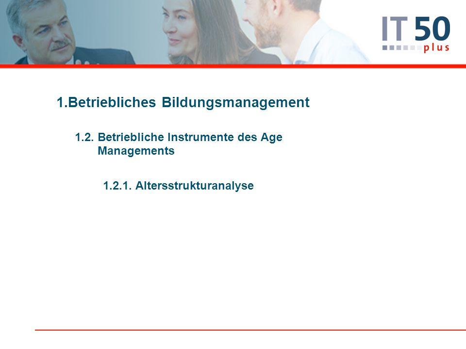 1.Betriebliches Bildungsmanagement 1.2. Betriebliche Instrumente des Age Managements 1.2.1. Altersstrukturanalyse