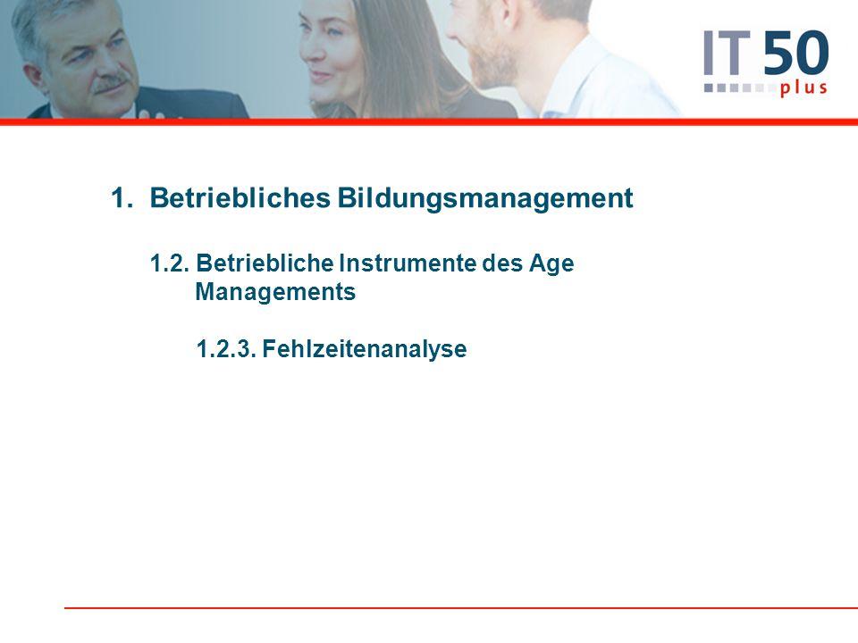 1.Betriebliches Bildungsmanagement 1.2. Betriebliche Instrumente des Age Managements 1.2.3. Fehlzeitenanalyse