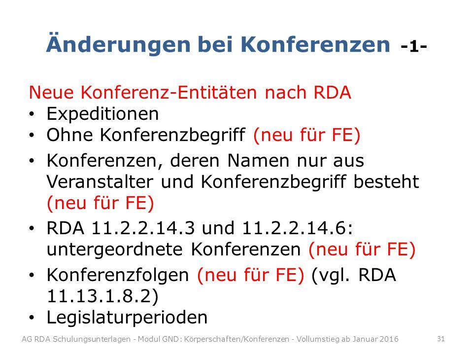 Änderungen bei Konferenzen -1- Neue Konferenz-Entitäten nach RDA Expeditionen Ohne Konferenzbegriff (neu für FE) Konferenzen, deren Namen nur aus Veranstalter und Konferenzbegriff besteht (neu für FE) RDA 11.2.2.14.3 und 11.2.2.14.6: untergeordnete Konferenzen (neu für FE) Konferenzfolgen (neu für FE) (vgl.