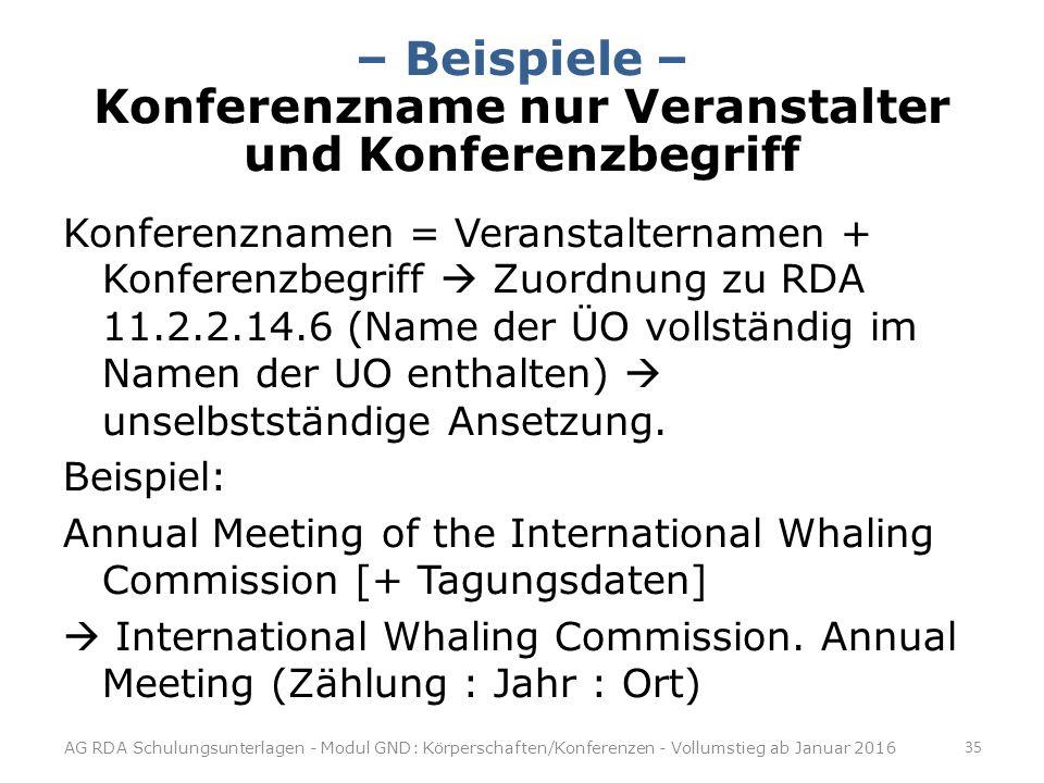 – Beispiele – Konferenzname nur Veranstalter und Konferenzbegriff Konferenznamen = Veranstalternamen + Konferenzbegriff  Zuordnung zu RDA 11.2.2.14.6 (Name der ÜO vollständig im Namen der UO enthalten)  unselbstständige Ansetzung.