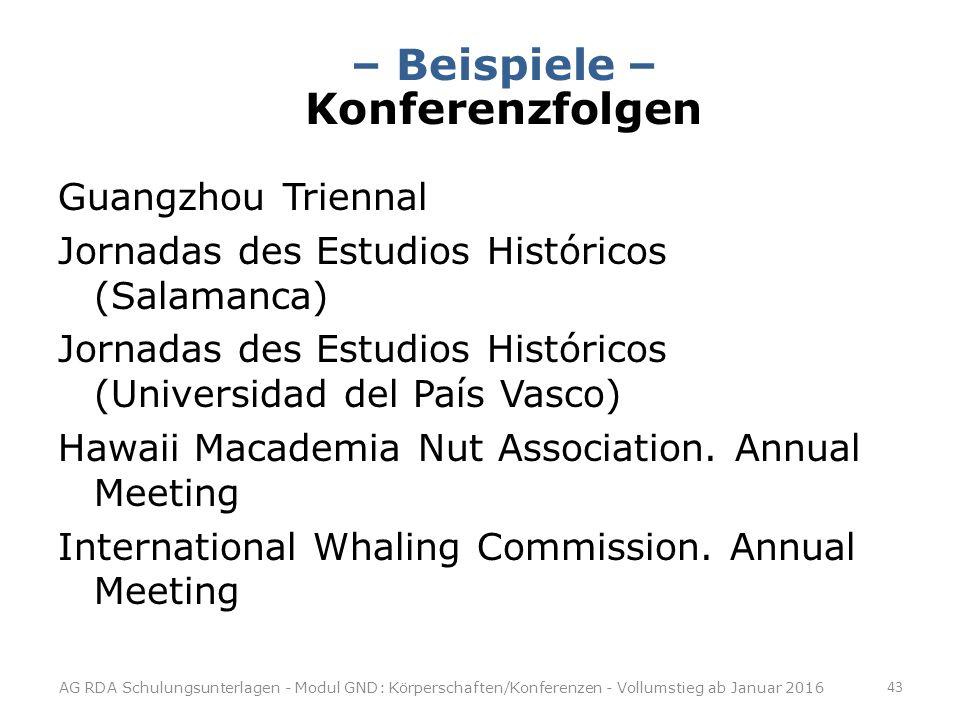 – Beispiele – Konferenzfolgen Guangzhou Triennal Jornadas des Estudios Históricos (Salamanca) Jornadas des Estudios Históricos (Universidad del País Vasco) Hawaii Macademia Nut Association.