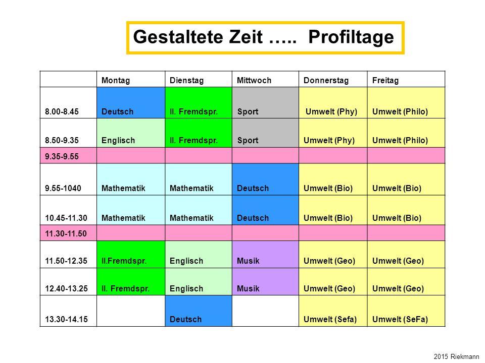 MontagDienstagMittwochDonnerstagFreitag 8.00-8.45DeutschII. Fremdspr.Sport Umwelt (Phy)Umwelt (Philo) 8.50-9.35EnglischII. Fremdspr.SportUmwelt (Phy)U