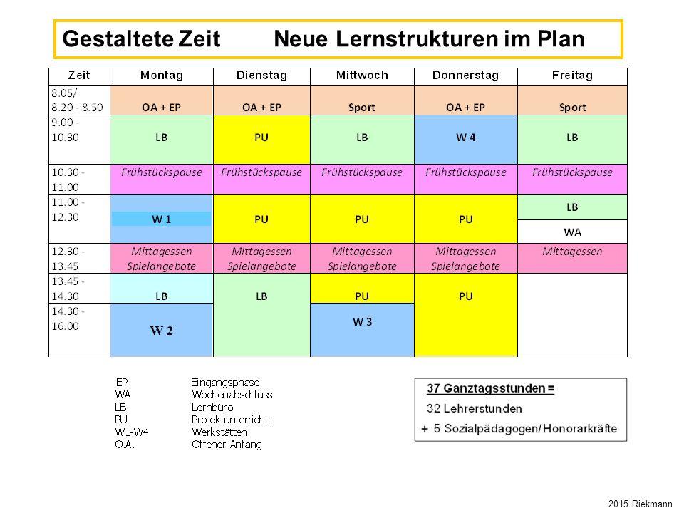 Gestaltete Zeit Neue Lernstrukturen im Plan 2015 Riekmann