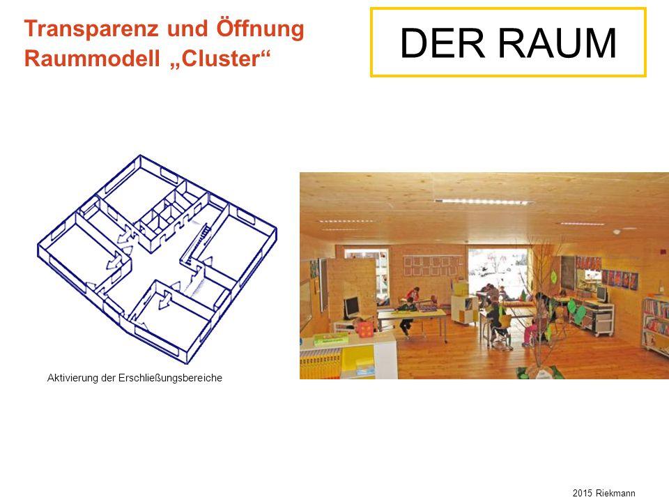 """Aktivierung der Erschließungsbereiche Transparenz und Öffnung Raummodell """"Cluster DER RAUM 2015 Riekmann"""