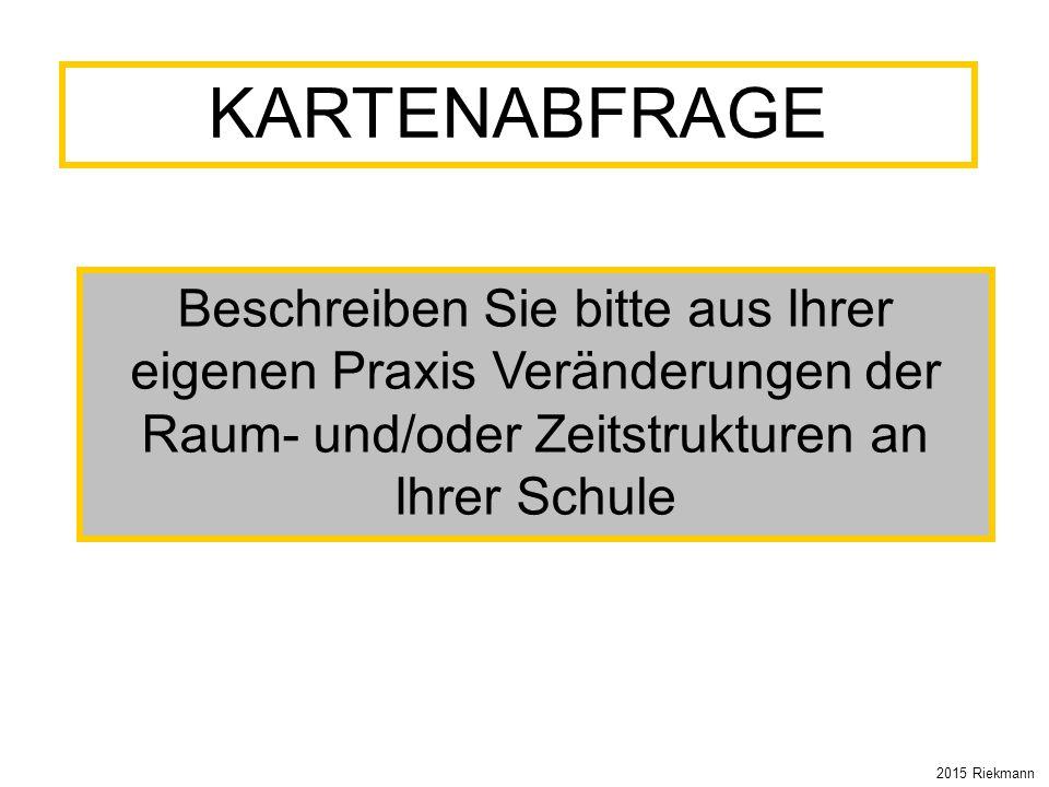 KARTENABFRAGE Beschreiben Sie bitte aus Ihrer eigenen Praxis Veränderungen der Raum- und/oder Zeitstrukturen an Ihrer Schule 2015 Riekmann
