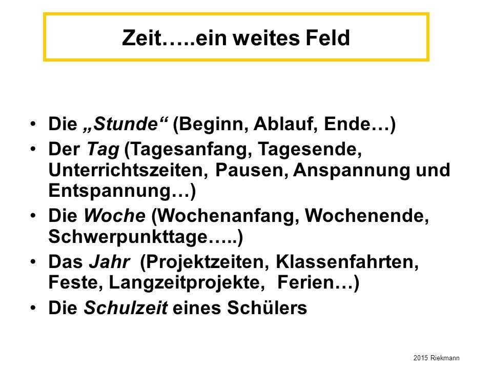 """Zeit…..ein weites Feld Die """"Stunde"""" (Beginn, Ablauf, Ende…) Der Tag (Tagesanfang, Tagesende, Unterrichtszeiten, Pausen, Anspannung und Entspannung…) D"""