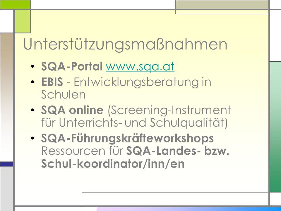 Unterstützungsmaßnahmen SQA-Portal www.sqa.atwww.sqa.at EBIS - Entwicklungsberatung in Schulen SQA online (Screening-Instrument für Unterrichts- und S