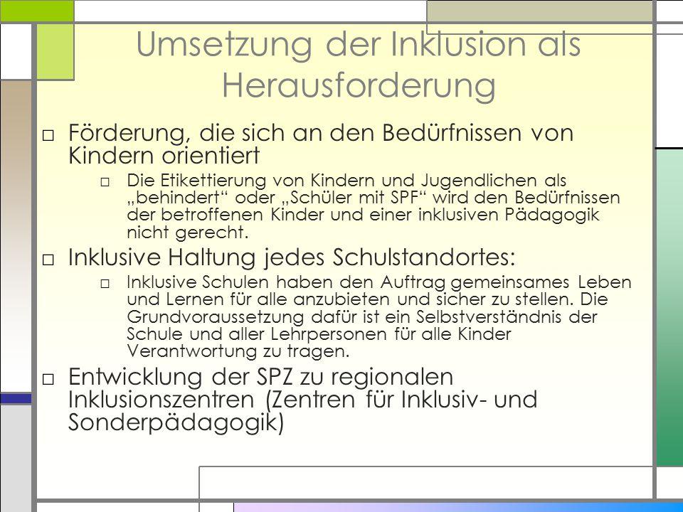 Umsetzung der Inklusion als Herausforderung □Förderung, die sich an den Bedürfnissen von Kindern orientiert □Die Etikettierung von Kindern und Jugendl