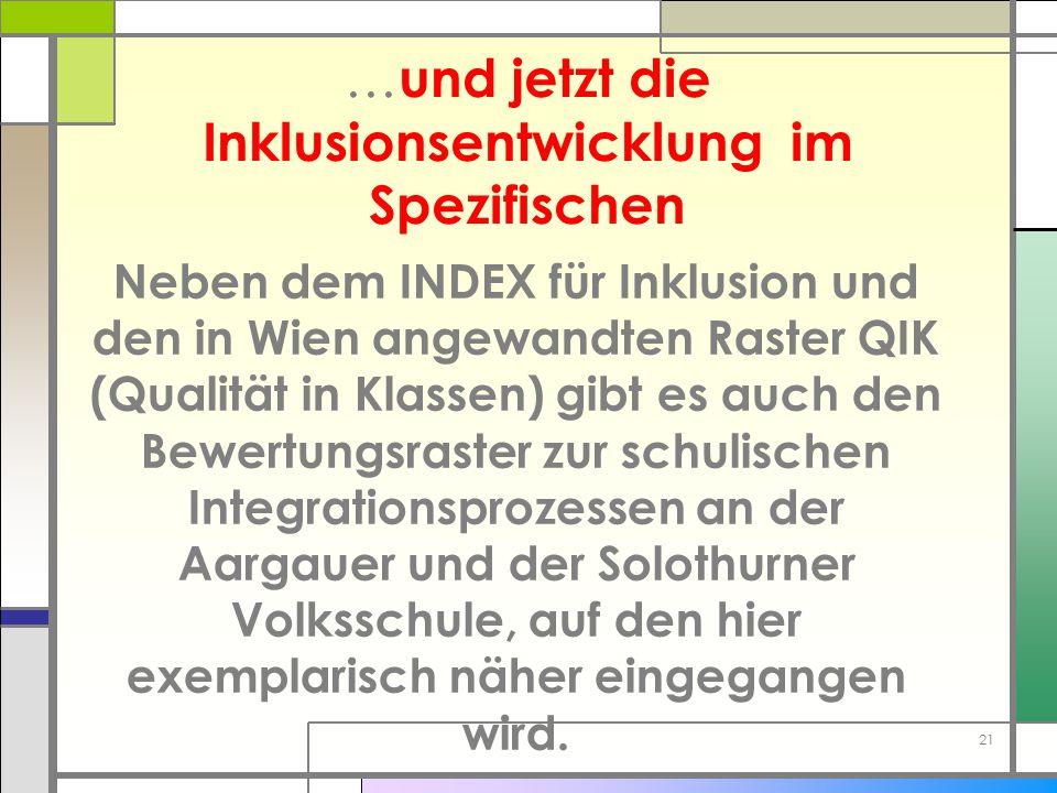 … und jetzt die Inklusionsentwicklung im Spezifischen Neben dem INDEX für Inklusion und den in Wien angewandten Raster QIK (Qualität in Klassen) gibt
