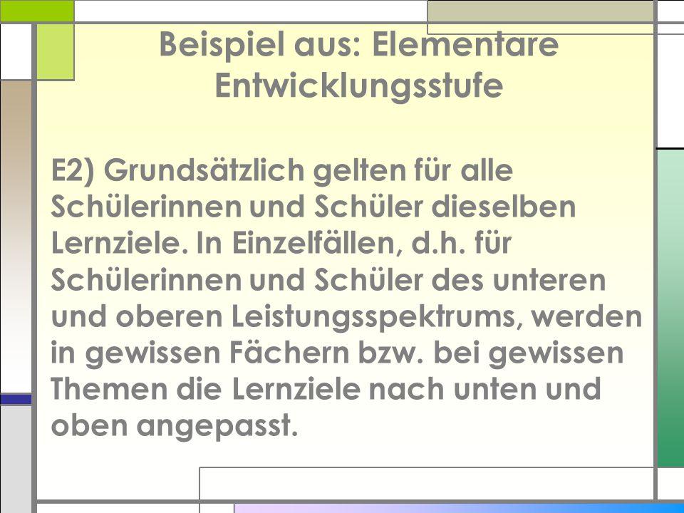 Beispiel aus: Elementare Entwicklungsstufe E2) Grundsätzlich gelten für alle Schülerinnen und Schüler dieselben Lernziele. In Einzelfällen, d.h. für S