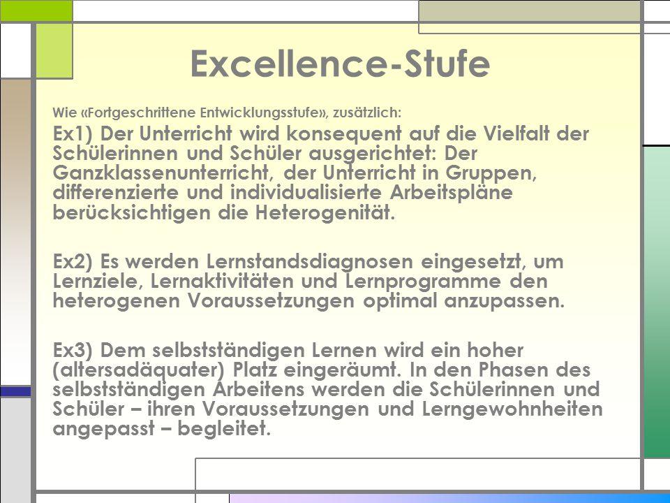 Excellence-Stufe Wie «Fortgeschrittene Entwicklungsstufe», zusätzlich: Ex1) Der Unterricht wird konsequent auf die Vielfalt der Schülerinnen und Schül