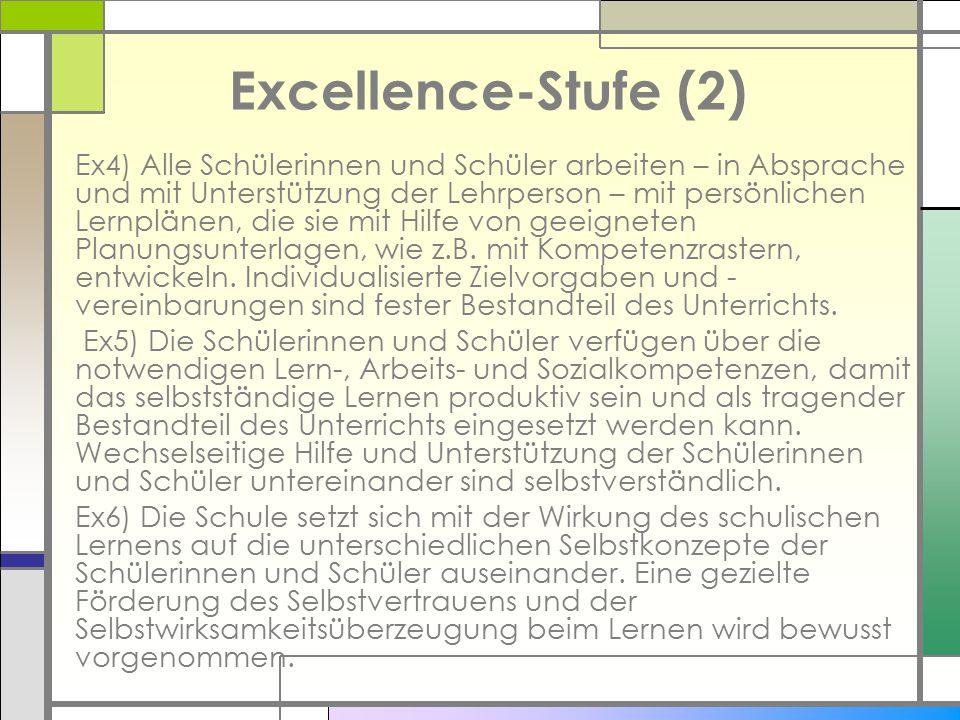 Excellence-Stufe (2) Ex4) Alle Schülerinnen und Schüler arbeiten – in Absprache und mit Unterstützung der Lehrperson – mit persönlichen Lernplänen, di
