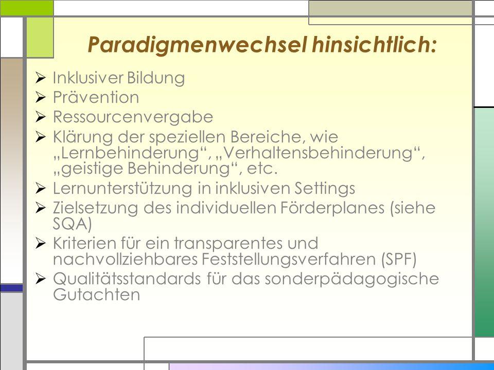 """Paradigmenwechsel hinsichtlich:  Inklusiver Bildung  Prävention  Ressourcenvergabe  Klärung der speziellen Bereiche, wie """"Lernbehinderung"""", """"Verha"""