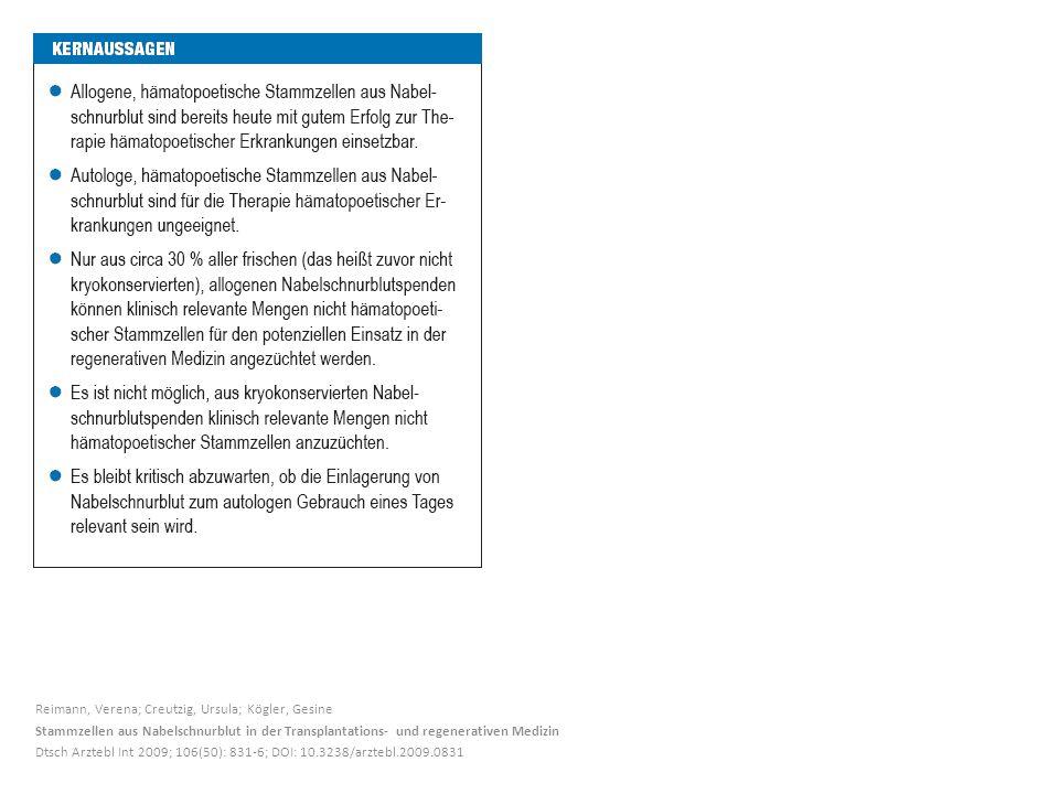 Reimann, Verena; Creutzig, Ursula; Kögler, Gesine Stammzellen aus Nabelschnurblut in der Transplantations- und regenerativen Medizin Dtsch Arztebl Int 2009; 106(50): 831-6; DOI: 10.3238/arztebl.2009.0831