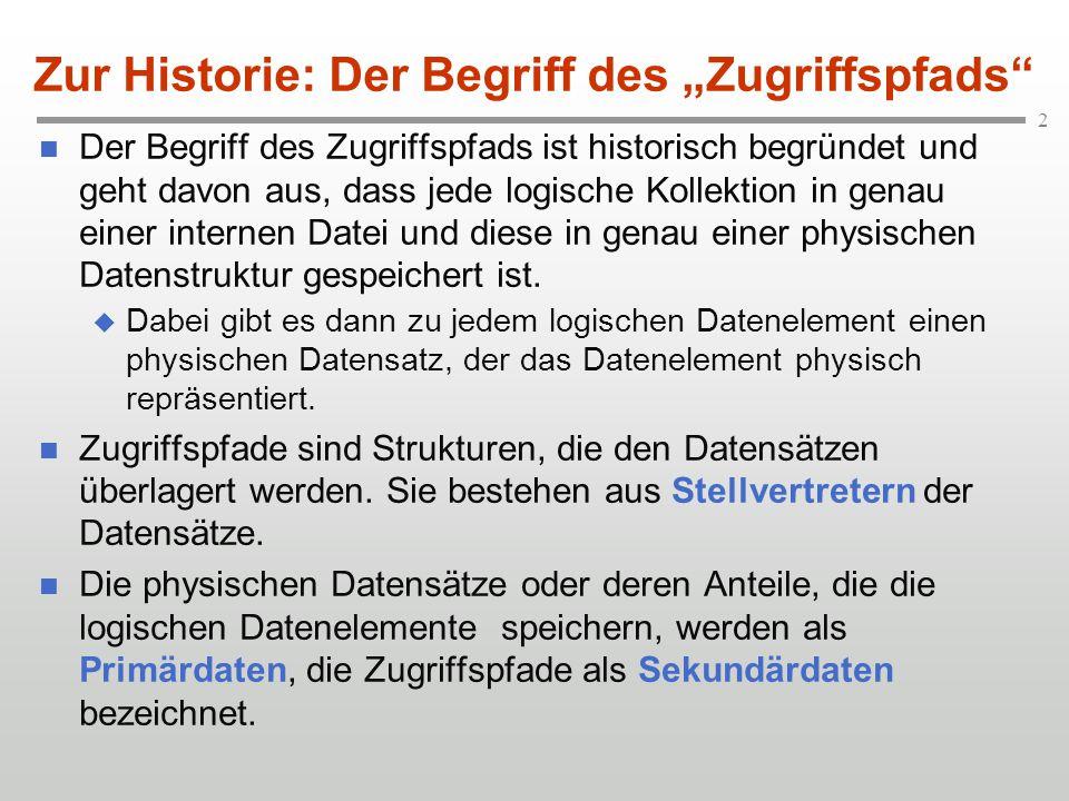 2 Der Begriff des Zugriffspfads ist historisch begründet und geht davon aus, dass jede logische Kollektion in genau einer internen Datei und diese in